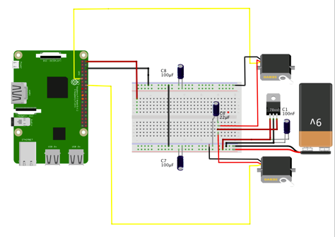 RPi&Servos circuit diagram