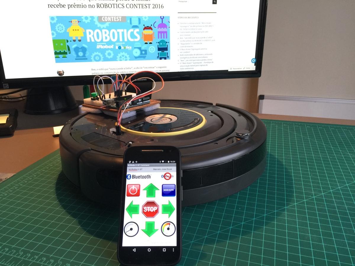 """Controlando o robô aspirador """"Roomba"""" com Arduino eAndroid"""